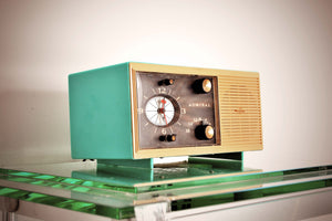 SOLD! - Jan. 14, 2019 - Aqua Blue 1959 Admiral Y3048 Tube AM Radio Clock Alarm Works Great! - [product_type} - Admiral - Retro Radio Farm