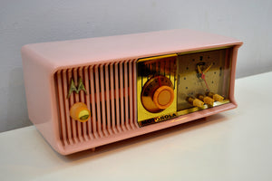 SOLD! - Aug. 13, 2019 - Marilyn Pink 1957 Motorola 57CC Tube AM Clock Radio Excellent Condition Sounds Great! - [product_type} - Motorola - Retro Radio Farm