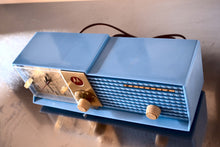 Load image into Gallery viewer, SOLD! - July 24, 2018 - CORNFLOWER BLUE 1957 Motorola 57CD Tube AM Clock Radio Excellent Condition! - [product_type} - Motorola - Retro Radio Farm