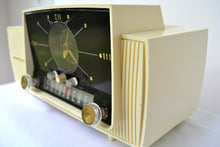 Load image into Gallery viewer, SOLD! - Aug 8, 2018 - CREAM IVORY Mid Century Jetsons 1957 General Electric Model 912 Tube AM Clock Radio Sweet! - [product_type} - General Electric - Retro Radio Farm