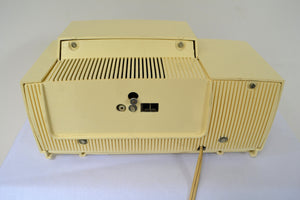 SOLD! - Aug 8, 2018 - CREAM IVORY Mid Century Jetsons 1957 General Electric Model 912 Tube AM Clock Radio Sweet! - [product_type} - General Electric - Retro Radio Farm