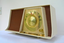 Load image into Gallery viewer, Tan and White Mid Century Retro 1962 Motorola A17W29 Tube AM Radio Cool Model Near Mint!