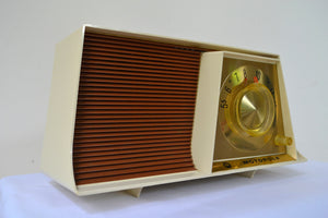 SOLD! - Jan. 11, 2019 - Tan and White Mid Century Retro 1962 Motorola A17W29 Tube AM Radio Cool Model Near Mint! - [product_type} - Motorola - Retro Radio Farm