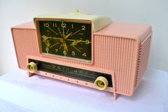 SOLD! - Sept 20, 2018 - IMPERIAL PINK 1959 Philco Model G761-124 Tube AM Clock Radio Pristine Rare Bells On Top Of Whistles!