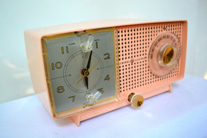 SOLD! - July 19, 2018 - CARNATION PINK Mid Century 1959 General Electric Model C437A Tube AM Clock Radio Mint Condition! - [product_type} - General Electric - Retro Radio Farm
