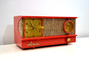 Flame and Burlap 1957 Arvin Model 5572 Tube Radio Looks Amazing Sounds Great! - [product_type} - Arvin - Retro Radio Farm