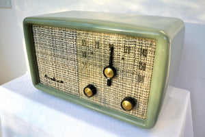 SAGE GREEN With Heather Tweed 1955 Montgomery Wards Airline Model GSE-1607 AM Bakelite Tube Radio Totally Restored! - [product_type} - Airline - Retro Radio Farm