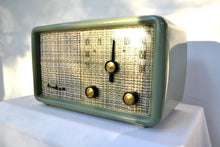 Load image into Gallery viewer, SAGE GREEN With Heather Tweed 1955 Montgomery Wards Airline Model GSE-1607 AM Bakelite Tube Radio Totally Restored! - [product_type} - Airline - Retro Radio Farm