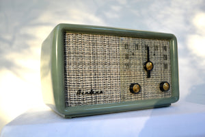 SOLD! - Nov. 26, 2018 - SAGE GREEN With Heather Tweed 1955 Montgomery Wards Airline Model GSE-1607 AM Bakelite Tube Radio Totally Restored! - [product_type} - Airline - Retro Radio Farm
