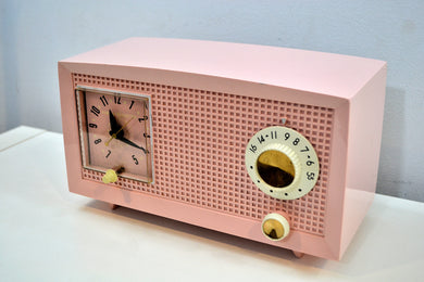SOLD! - Dec. 17, 2019 - Petal Pink Vintage 1959 General Electric Model C-400A Tube Radio With Rare Pink Clock Face! - [product_type} - General Electric - Retro Radio Farm