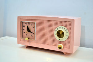Petal Pink Vintage 1959 General Electric Model C-400A Tube Radio With Rare Pink Clock Face! - [product_type} - General Electric - Retro Radio Farm