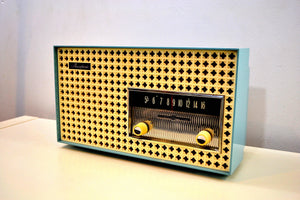 Continental Baby Blue 1960 General Electric Model T165A Musaphonic Tube Radio Clover Grid Grill! - [product_type} - General Electric - Retro Radio Farm