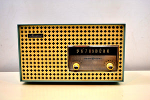 SOLD! - Sept 12, 2019 - Continental Baby Blue 1960 General Electric Model 15R13 Musaphonic Tube Radio Clover Grid Grill! - [product_type} - General Electric - Retro Radio Farm