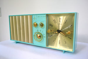 SOLD! - Aug. 31, 2018 - BLUETOOTH MP3 UPGRADE ADDED - Turquoise Mid Century Vintage Retro 1962 Emerson Lifetimer II Model G1705 Tube AM Clock Radio - [product_type} - Emerson - Retro Radio Farm