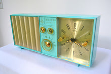 Load image into Gallery viewer, SOLD! - Aug. 31, 2018 - BLUETOOTH MP3 UPGRADE ADDED - Turquoise Mid Century Vintage Retro 1962 Emerson Lifetimer II Model G1705 Tube AM Clock Radio - [product_type} - Emerson - Retro Radio Farm