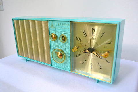 SOLD! - Aug. 31, 2018 - BLUETOOTH MP3 UPGRADE ADDED - Turquoise Mid Century Vintage Retro 1962 Emerson Lifetimer II Model G1705 Tube AM Clock Radio