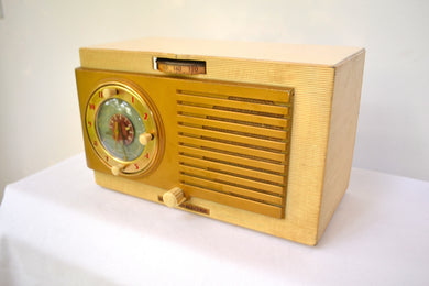 BLUETOOTH MP3 UPGRADED - Blonde 1950 General Electric Model 508 AM Clock Radio Works Great! - [product_type} - General Electric - Retro Radio Farm