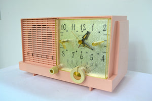 SOLD! - Feb 13, 2019 - Mamie Pink Mid-Century Retro Vintage 1959 Philco Model F-752-124 AM Tube Clock Radio Excellent Plus! - [product_type} - Philco - Retro Radio Farm