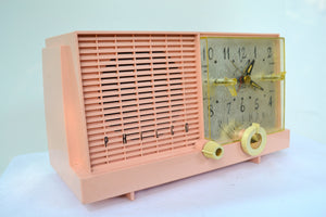 Mamie Pink Mid-Century Retro Vintage 1959 Philco Model F-752-124 AM Tube Clock Radio Excellent Plus! - [product_type} - Philco - Retro Radio Farm