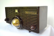 Load image into Gallery viewer, SOLD! - Oct 9, 2018 - BLUETOOTH MP3 Ready - ESPRESSO Mid Century Retro Jetsons 1957 Motorola 56H Turbine Tube AM Radio Marbled! - [product_type} - Motorola - Retro Radio Farm