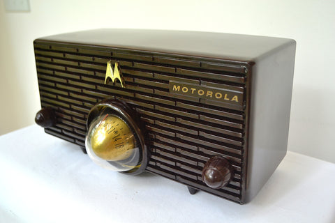 BLUETOOTH MP3 Ready - ESPRESSO Mid Century Retro Jetsons 1957 Motorola 57H Turbine Tube AM Radio Marbled!