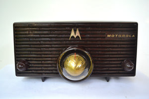SOLD! - Oct 9, 2018 - BLUETOOTH MP3 Ready - ESPRESSO Mid Century Retro Jetsons 1957 Motorola 56H Turbine Tube AM Radio Marbled! - [product_type} - Motorola - Retro Radio Farm