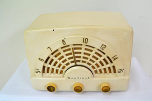 Deco-Licious Ivory 1953 Sentinel Model 344 AM Tube Radio Excellent Condition Sounds Divine! - [product_type} - Sentinel - Retro Radio Farm