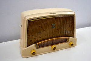 Vintage 1948 Creamy Beige Crosley Model 9-104W AM Tube Radio Sounds Wonderful Like a Crosley Would! - [product_type} - Crosley - Retro Radio Farm