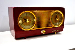 Cranberry Red 1954 RCA Victor Vintage Model 4-C-544 Tube AM Clock Radio Sounds Great! - [product_type} - RCA Victor - Retro Radio Farm