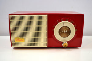 SOLD! - Jan. 8, 2020 - Rally Red and White 1955 General Electric Model 471 AM Tube Radio Real Charmer! - [product_type} - General Electric - Retro Radio Farm