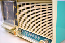 Load image into Gallery viewer, Aqua and White Mid Century Vintage 1960 General Electric C-451B AM Tube Clock Radio Wow! - [product_type} - General Electric - Retro Radio Farm
