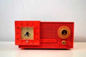 Watermelon Pink Mid Century Retro Jetsons 1957 Olympic Model 408 AM Clock Radio Totally Restored!