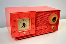Load image into Gallery viewer, Watermelon Pink Mid Century Retro Jetsons 1957 Olympic Model 408 AM Clock Radio Totally Restored!