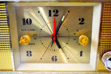 Load image into Gallery viewer, Grecian Ivory and Gold 1965 Penncrest Model 3625 AM Tube Clock Radio Works Great Looks Great! - [product_type} - Penncrest - Retro Radio Farm