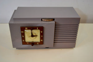 Lavender Taupe Post War Vintage 1948 Telechron Model 8H67 Musalarm AM Clock Radio Works Great! - [product_type} - Telechron - Retro Radio Farm