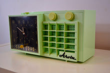 Load image into Gallery viewer, Mist Green Mid Century Retro Jetsons 1957 Arvin 5561 Tube AM Clock Radio Totally Restored! - [product_type} - Arvin - Retro Radio Farm