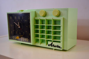 Mist Green Mid Century Retro Jetsons 1957 Arvin 5561 Tube AM Clock Radio Totally Restored! - [product_type} - Arvin - Retro Radio Farm