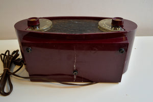 Wild Looking Maroon Football 1950 Sparton Model 132 AM Tube Radio Excellent Condition! - [product_type} - Sparton - Retro Radio Farm