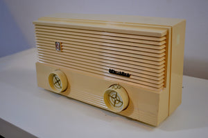 SOLD! - Sept 24, 2019 - Vanilla Ivory Vintage 1959 Sylvania Model 5T10 Radio with Amazon Echo Dot!