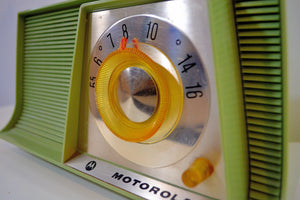 SOLD! - Aug 18, 2019 - Avocado Mid Century Vintage 1962 Motorola A10G62 Tube AM Radio Cool Model Rare Color! - [product_type} - Motorola - Retro Radio Farm