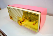 Load image into Gallery viewer, Cameo Pink Mid Century Vintage Retro 1958 Emerson Tube AM Clock Radio Sounds Great! - [product_type} - Emerson - Retro Radio Farm