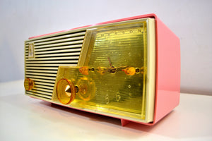 Cameo Pink Mid Century Vintage Retro 1958 Emerson Tube AM Clock Radio Sounds Great! - [product_type} - Emerson - Retro Radio Farm