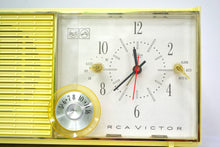 Load image into Gallery viewer, SOLD! - Sept. 9, 2018 - BLUETOOTH MP3 UPGRADE ADDED - Lemon Yellow Mid Century Antique Retro Vintage 1959 RCA Victor Model RFD19Z AM Tube Clock Radio Near Mint! - [product_type} - RCA Victor - Retro Radio Farm