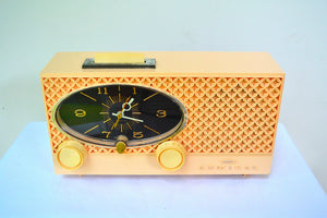 Lace Pink 1959 Admiral Y3354 Vintage Atomic Age Tube AM Radio Clock Sounds Great! - [product_type} - Admiral - Retro Radio Farm