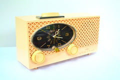Lace Pink 1959 Admiral Y3354 Vintage Atomic Age Tube AM Radio Clock Sounds Great!