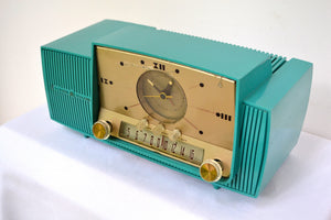 SOLD! - Sept 17, 2018 - Teal Goody Mid Century Jetsons 1957 General Electric Model 914 Tube AM Clock Radio Eye Popper! - [product_type} - General Electric - Retro Radio Farm