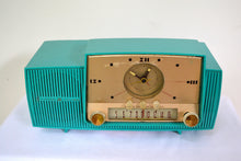 Load image into Gallery viewer, SOLD! - Sept 17, 2018 - Teal Goody Mid Century Jetsons 1957 General Electric Model 914 Tube AM Clock Radio Eye Popper! - [product_type} - General Electric - Retro Radio Farm