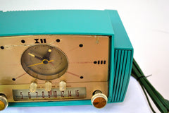 SOLD! - Sept 17, 2018 - Teal Goody Mid Century Jetsons 1957 General Electric Model 914 Tube AM Clock Radio Eye Popper!