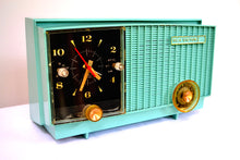 Load image into Gallery viewer, SOLD! - Dec 1, 2018 - Teal Blue Retro Jetsons Vintage 1957 RCA Victor RCA 3RD-35 Tube AM Clock Radio Cute! - [product_type} - RCA Victor - Retro Radio Farm