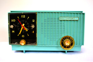 SOLD! - Dec 1, 2018 - Teal Blue Retro Jetsons Vintage 1957 RCA Victor RCA 3RD-35 Tube AM Clock Radio Cute! - [product_type} - RCA Victor - Retro Radio Farm